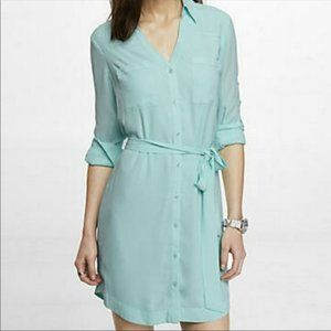 Seafoam belted shirt dress